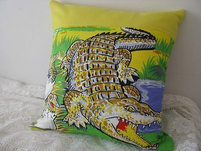 Crocodiles of Australia pillow cushion cover up-cycled from a tea towel