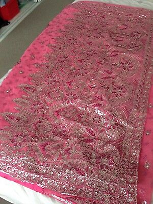 Beautiful Peach/Pinky Diamontie Saree