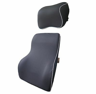Love Home Premium Memory Foam Car Lumbar Cushion & Car Neck Pillow Kit (Black