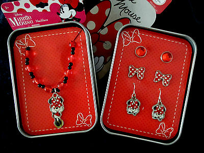 DISNEY MINNIE MOUSE BEADED NECKLACE  PENDANT & 3 PIECE EARRING SET NEW in TINS