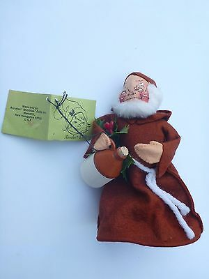 """Annalee Christmas 1969 Monk With Tag AnnaLee Mobilitee 7"""" Tall"""