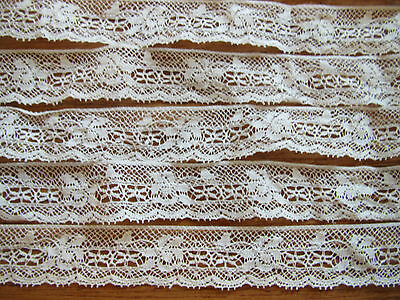 "Antique LACE TRIM White Vintage Edging Cotton Dolls Sewing 36"" x 5/8"" Scallop"