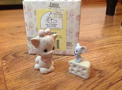 Precious Moments Not a Creature was Stirring 2 Piece Set Cat and Mouse #524484