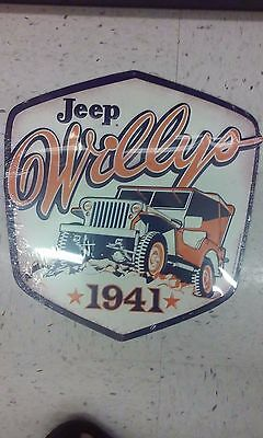 Jeep Willy Since 1941 Metal Sign Vintage Looking 14 By 14 Inches Raised Letters