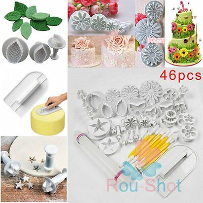 46PCS Fondant Sugarcraft Cake Decorating Kit Cookies Mold Icing Plunger Cutters
