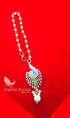 MAG31, Daphne Zircon Carving Maang Tikka with Pearls for Women