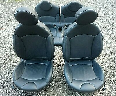 Mini R56 Hatch 07 13 - Black Full Leather Front&rear Seats Interior - Free Fit