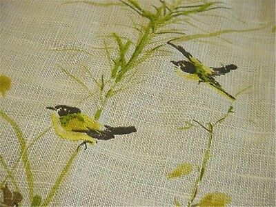 Mid-Century Embroidered Linen Panel Birds w Accent Embroidery Honey Bee Grasses
