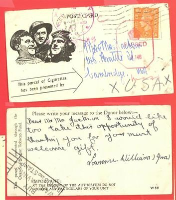 UK GB WWII Cigarette Donation card for Army to USA Censor 1943