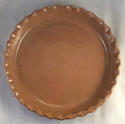 "Vintage Brown Cornelison Bybee Pottery Kentucky Crimped Pie Plate 9.5"" Signed"