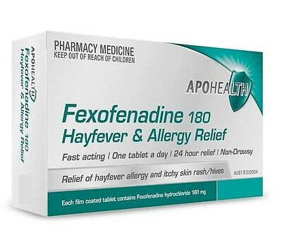 ===> Apohealth Fexofenadine 180Mg 100 Tablets Hayfever&allergy Relief =  Telfast