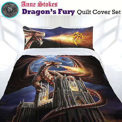 Anne Stokes Bedding Dragon Fury Double Bed Quilt Doona Cover