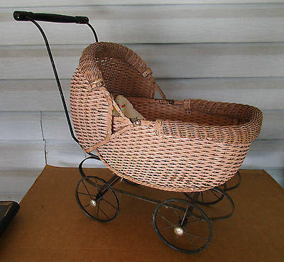 Baby Carriage/Buggy Antique Doll Wicker Stroller Pram Canopy Wood Metal