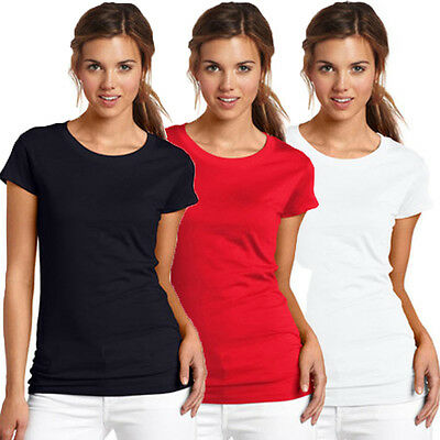 Fashion Womens Summer Solid Plain Short Sleeve Sports T-shirt Tops Blouse Tee