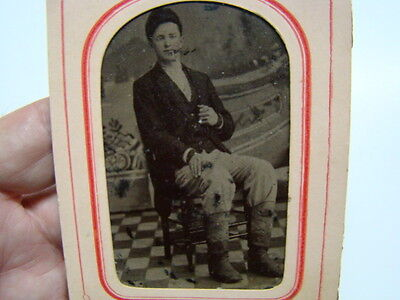 Gentleman Sitting in Chair Tintype Photograph & Paper Frame 1890's