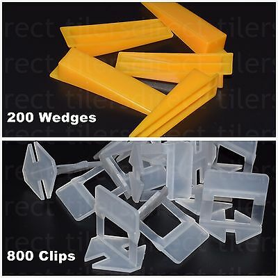 1000 Tile Leveling System = 800 Clips + 200 Wedges Spacers Tiling Tools Plastic