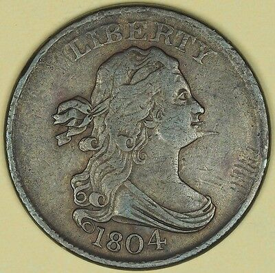 1804 Draped Bust Half Cent Spiked Chin