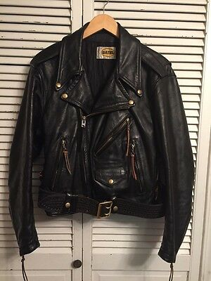 Vintage 1980's Bates Highwayman Terminator Black Leather Motorcycle Jacket Small