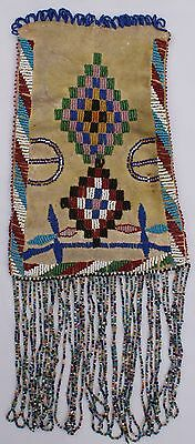Circa 1900 Apache Indian Beaded On Both Sides Fringed Hide Pouch
