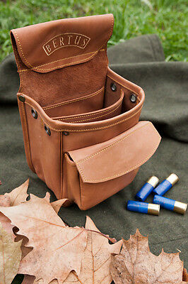 """Bertus Shell Pouch Cartridge Belt Bag Clay Shooting Target """"pilla Style"""" Leather"""