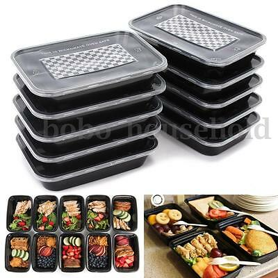 10PC Rectangle Food Container Prep Meal Storage Microwave Lunch Box Lid Takeaway