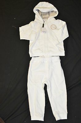 NWT Burberry White 2 PC Hooded Sweat Pant Set Infant Boy/Girl 12M
