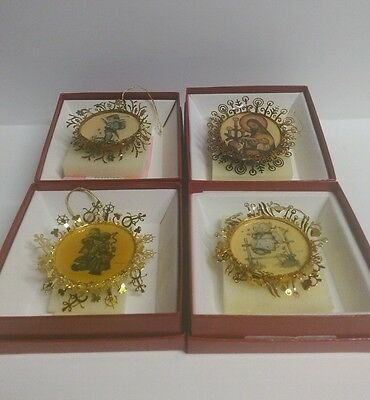 The Hummel Gold Double Sided Christmas Ornament Collection Lot of 4  with boxes