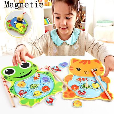 Wooden Childrens Kids  Magnetic Fishing Angler Puzzle Game Toy Catch Hook Pull