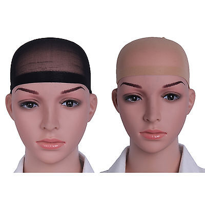 Pack of 2 Wig Cap Breathable Stretchable Nylon Stretch Stocking Cap Nude Black