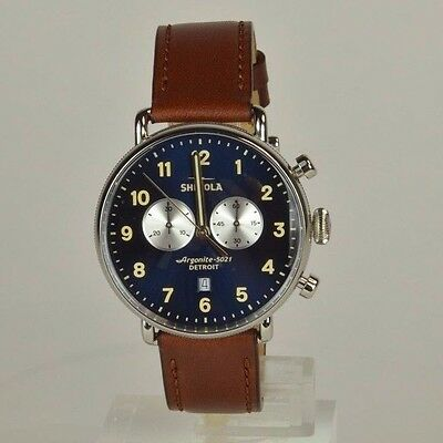 SHINOLA CANFIELD CHRONO. BROWN LEATHER AND BLUE FACE. 43mm  BRAND NEW