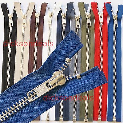 "YKK Metal Silver Teeth Open Ended Zip 10"" to 30"", No 5 Weight, Choice of Colours"
