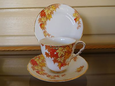 "Vintage Royal Staffordshire ""Autumn Leaves"" Trio Made In England 1930s"