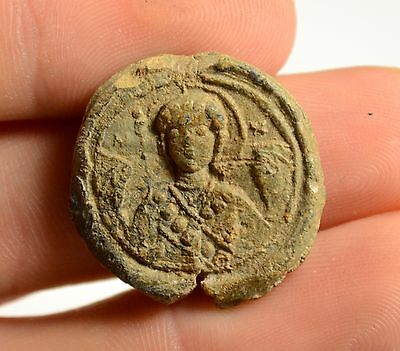 Rare Ancient Byzantine Lead Seal With Image Of Saint And Inscription