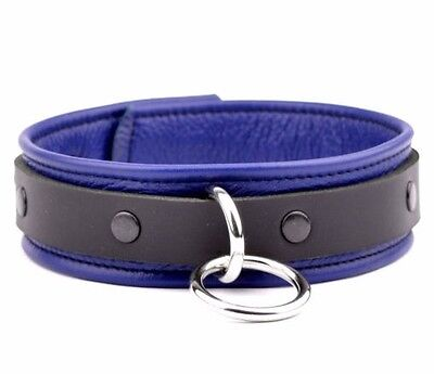 BLUE Beautifully Handcrafted Black Deluxe Supple Leather Collar col7BlueBlkStBlk