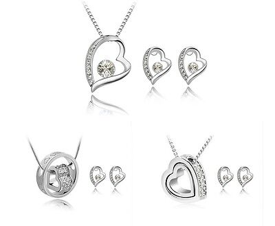 Crystal Silver Heart Bridal Jewellery Set Earrings and Necklace Valentines day.