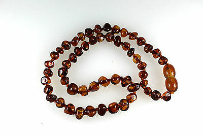 Natural Genuine Baltic amber baby necklace Rounded beads  V9