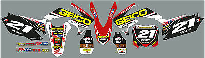 CRF 250/450  2009-13 Geico graphic / decal kit  PERSONALISED FREE UK SHIPPING