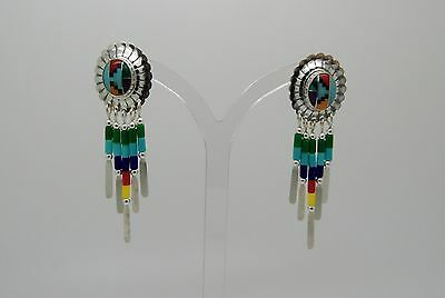 "Tradititional Native American Sterling Silver/Multigem ""Tribal Shield"" Earrings"