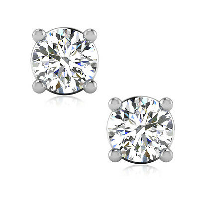 1 04 Ctw Round Cut Man Made Diamond Stud Solitaire Earrings Solid 14k White Gold