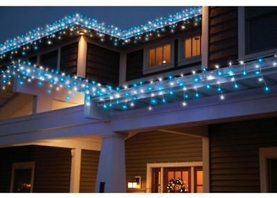 New 70 Count Random Twinkle Cool White & Blue LED Icicle Lights White Wire 10FT