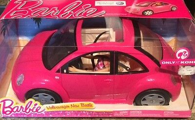 New Barbie Pink Volkswagen Beetle with Pink Rose in Vase on Dash & Doll