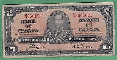 1937 Bank of Canada 2 Dollar Note - Coyne/Towers - Fine - Z/B8601821