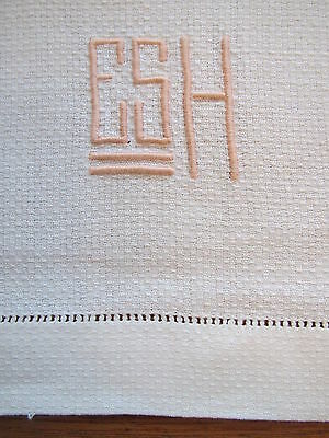 Vintage Towel Set White Monogram E S H Pink Embroidery Huck Hand Guest Towel