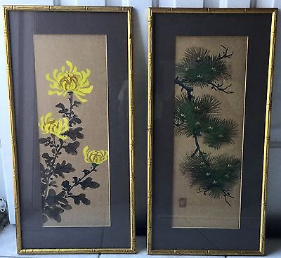 Pair Mid-Century Japanese SUMI-E Ink & Mineral on Gold Paper Paintings - KYOTO