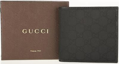 New Gucci Guccissima Canvas Black Leather Coins Credit Card Case Bifold Wallet