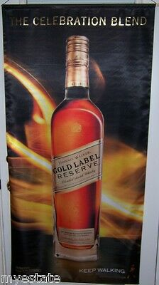 JOHNNIE WALKER GOLD Celebration Big Satin Advertising Banner Scotch Whisky Sign