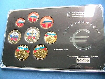 Euro Kms Slowakei In Farbe / 1 Cent - 2 Euro / Bankfrisch