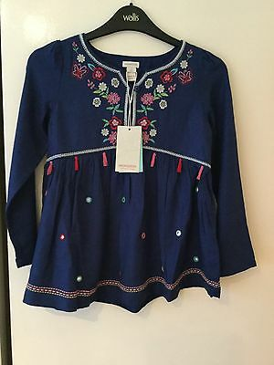 BNWT Girls Monsoon Embroidered Dress With Tassels Aged 6 Years