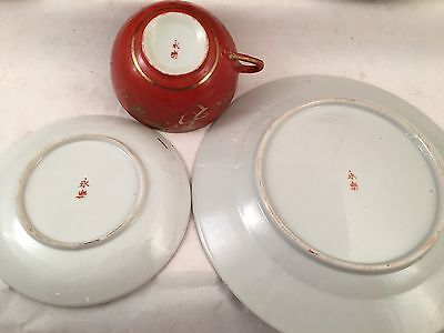 Vintage Chinese Red Handpainted Gilt Dragon Plates, Cups, Saucers 10 piece set