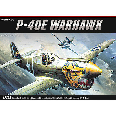 Academy 1/72 P-40E WARHAWK Fighter Plastic Model Kit Airplanes #12468